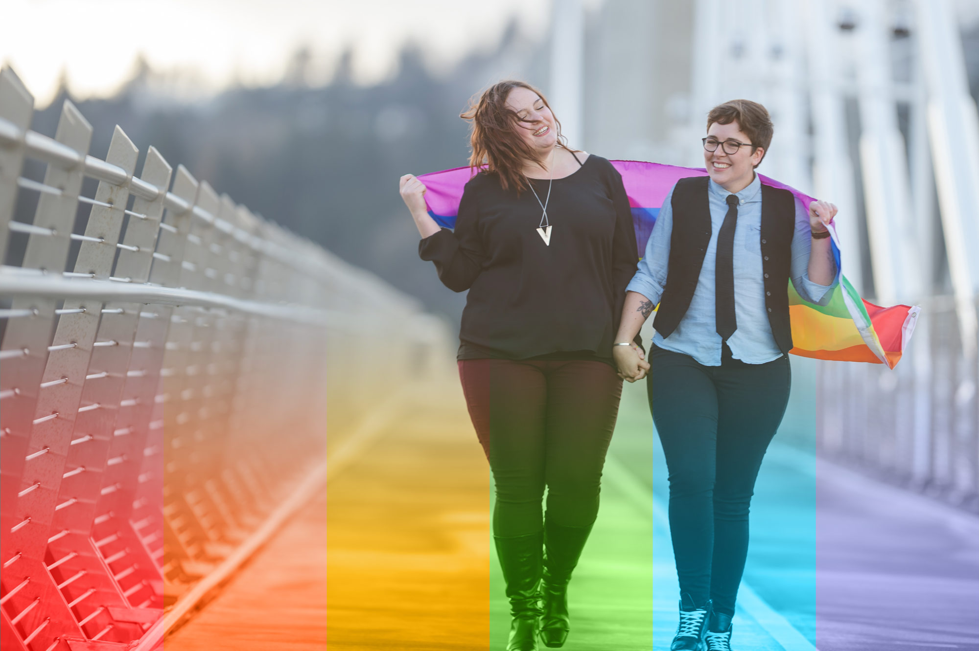 Lesbian couple celebrate after Pride Day in Vancouver